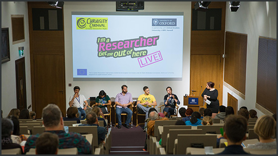 Researchers presenting at the 'I'm a researcher, get me out of here' live event at Curiosity Carnival 2017