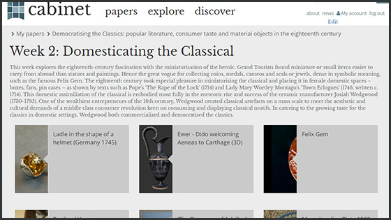 A screenshot of Professor Christine Gerrard's course Democratising the Classics Week 2
