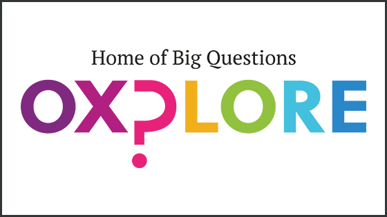 Colourful logo of Oxplore with tagline Home of Big Questions