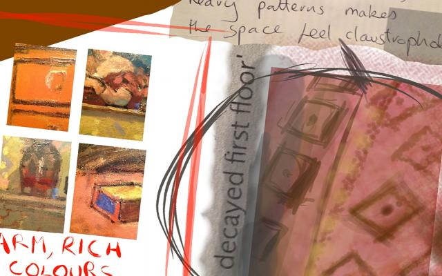 An art student's work using the Brushes 3 app on a tablet during a visit to the Ashmolean Museum