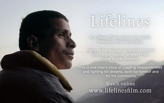 Makar Singh gazes towards the Indian Himalayas on a promotional poster for the Lifelines documentary film