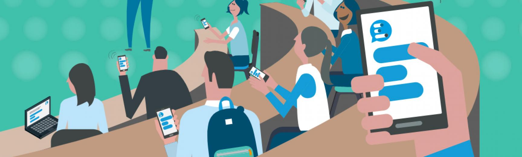 Cartoon artwork of a lecturer asking students questions on the whiteboard and they answer using Meetoo on their devices