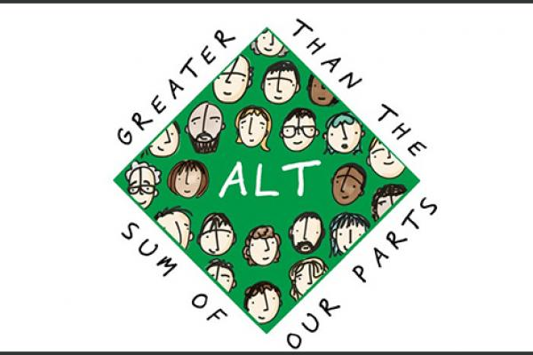 "green square with many illustrated faces inside saying ALT at the centre and ALT's motto ""Greater then the sum of our parts"" around the shape"