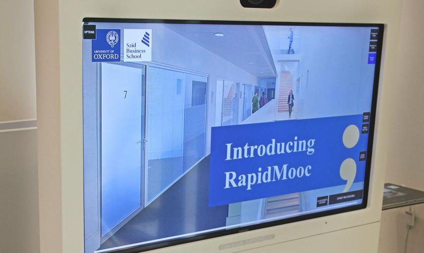 RapidMooc, an instant video creation tool with screen showing the video from live camera