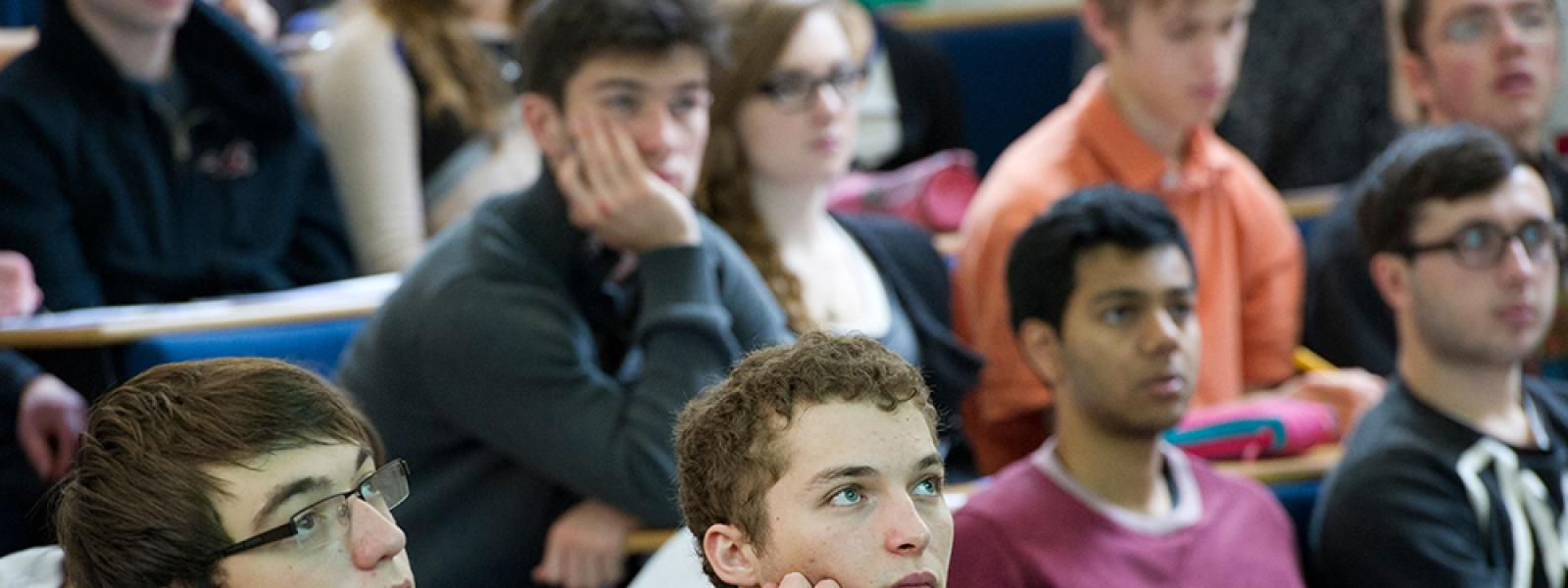 Students in a lecture at Oxford University in science