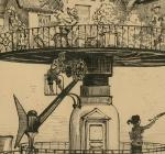 Drawing of a house elevated above rooftops, designed to revolve and adjust in various directions
